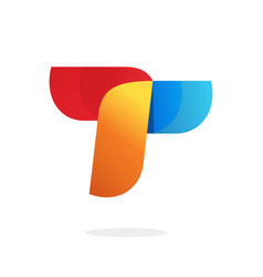 Letter t abstract logo element in red orange blue vector