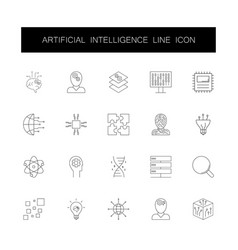 line icons set artificial intelligence pack vector image