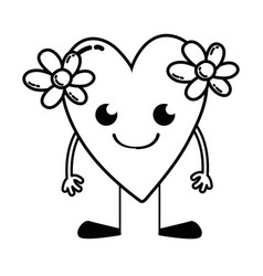 Line smile heart with flowers kawaii with arms and vector