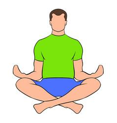 Man sitting in lotus posture icon cartoon vector
