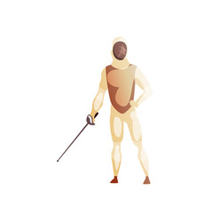 Man wearing fencing suit standing with sword male vector