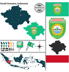Map of South Sumatra vector image