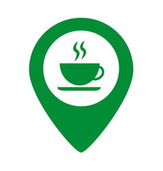 Map pointer with coffee cup vector