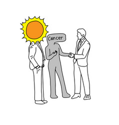 Metaphor the sun introducing cancer to a man vector