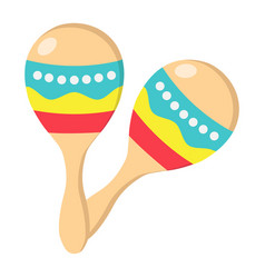 mexican maracas flat icon music and instrument vector image