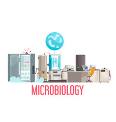 Microbiology science lab composition vector