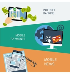 Mobile news payments and internet banking concept vector