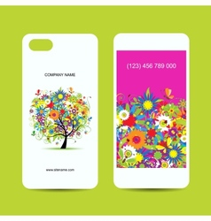 Mobile phone cover back and screen floral tree for vector