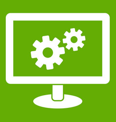 monitor settings icon green vector image