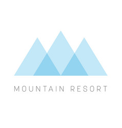 Mountain resort logo template blue triangle shape vector