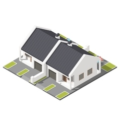 One storey connected cottage with slant roof for vector image