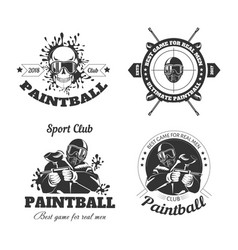 Paintball game sport club logo templates of gamer vector