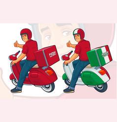 Pizza delivery rider vector