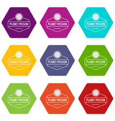 planet concept icons set 9 vector image