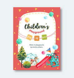 Playground poster design with tree jungle gym vector