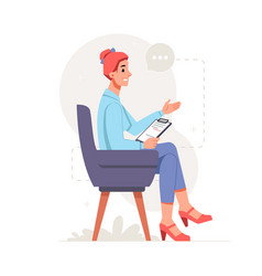 psychologist woman with clipboard gesturing vector image