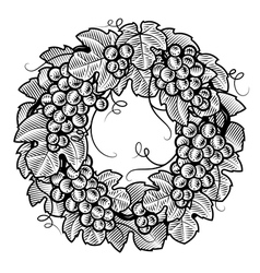 Retro grapes wreath black and white vector image