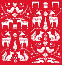 scandinavian seamless folk art hand drawn pattern vector image