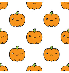 seamless halloween pattern with winking kawaii vector image