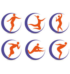 set of sports symbols with silhouettes of human vector image