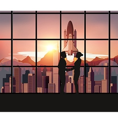 Silhouette people with Space Shuttle vector image