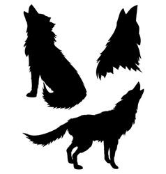 Silhouettes of Wolves2 vector