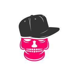 skull logo design wearing a hat vector image