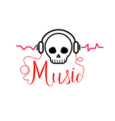 Skull with headphones music tshirt vector