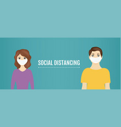 social distance banner with man and woman vector image