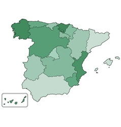 Spain contour map vector image vector image