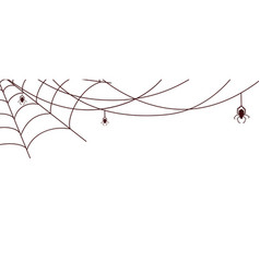 Spider web banner cobweb with spiders isolated vector