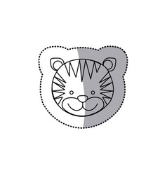 Sticker monochrome contour with male tiger head vector