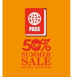 Summer sale 50 discounts with passport vector