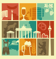 symbols germany and berlin in retro style vector image