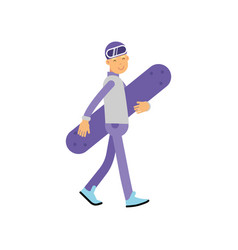 teen boy walking with snowboard boy doing sport vector image