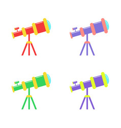 Telescope flat icons in different colors isolated vector