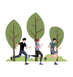 the company athletes jogging in park in vector image