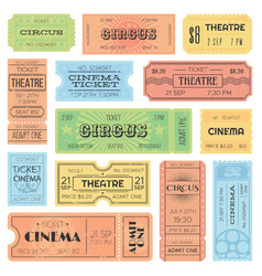 Theater or cinema admit one tickets circus vector