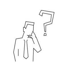 thinking businessman line on white vector image