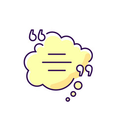 Thought bubble with quotes yellow rgb color icon vector