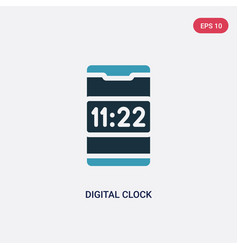 Two color digital clock icon from mobile app vector