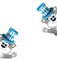 two funny gray cats in a bavarian hat card vector image