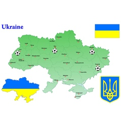 Ukraine map flag vector