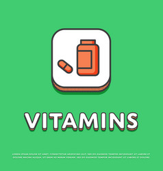 Vitamins colour icon in line design vector