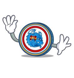 Waving dragonchain coin character cartoon vector