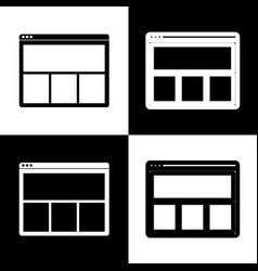web window sign black and white icons and vector image
