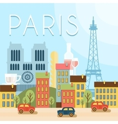 Welcome to France Attractions of Paris the vector image