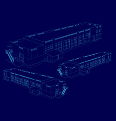 Wireframe of the building in isometric 3d vector