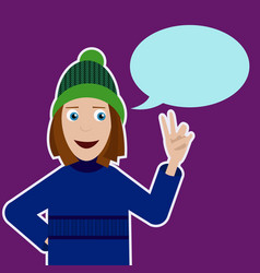 with smiling girl in sweater hat and vector image