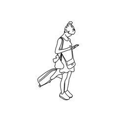 Woman with travel bag using mobile phone vector